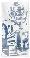 Tom Brady New England Patriots Water Color Pixel Art 10 Hand Towel