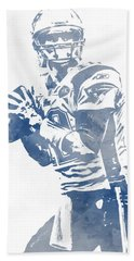 Tom Brady New England Patriots Water Color Pixel Art 5 Hand Towel