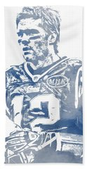 Tom Brady New England Patriots Water Color Pixel Art 6 Hand Towel