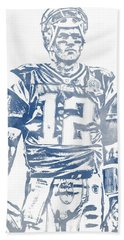 Tom Brady New England Patriots Water Color Pixel Art 7 Hand Towel