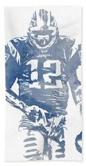 Tom Brady New England Patriots Water Color Pixel Art 8 Hand Towel