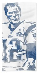 Tom Brady New England Patriots Water Color Pixel Art 9 Hand Towel
