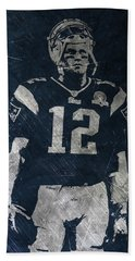 Tom Brady Patriots 4 Hand Towel by Joe Hamilton