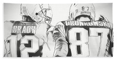 Hand Towel featuring the drawing Tom Brady Rob Gronkowski Sketch by Dan Sproul
