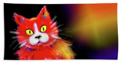 Bath Towel featuring the painting Tomato Dizzycat by DC Langer