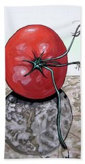 Tomato On Marble Hand Towel by Mary Ellen Frazee