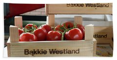 Tomatoes In A Crate Bath Towel by Hans Engbers
