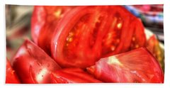 Bath Towel featuring the pyrography Tomatoes by Yury Bashkin