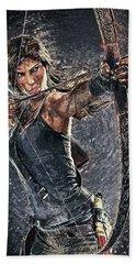 Tomb Raider Hand Towel by Taylan Apukovska