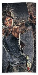 Bath Towel featuring the digital art Tomb Raider by Taylan Apukovska