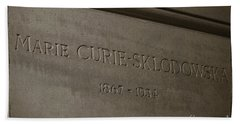 Tombstone Of Marie Curie In Black And White Hand Towel