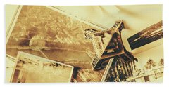Toned Image Of Eiffel Tower And Photographs On Table Bath Towel
