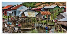 Tonle Sap Boat Village Cambodia Hand Towel by Chuck Kuhn