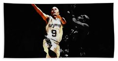 Bath Towel featuring the mixed media Tony Parker Left Hand by Brian Reaves