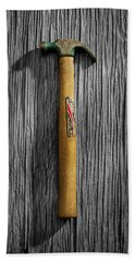 Hand Towel featuring the photograph Tools On Wood 17 On Bw by YoPedro