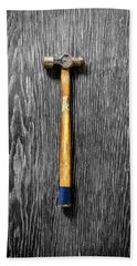 Tools On Wood 51 On Bw Bath Towel by YoPedro