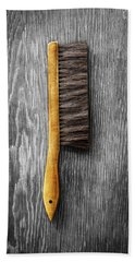 Hand Towel featuring the photograph Tools On Wood 52 On Bw by YoPedro