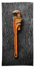 Hand Towel featuring the photograph Tools On Wood 60 On Bw by YoPedro