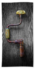 Hand Towel featuring the photograph Tools On Wood 61 On Bw by YoPedro