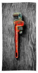 Hand Towel featuring the photograph Tools On Wood 62 On Bw by YoPedro