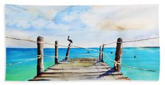Top Of Old Pier On Playa Paraiso Hand Towel