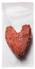 Top View Of Heart Shaped Chocolate Fudge Hand Towel