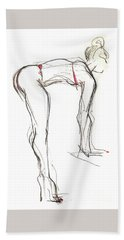 Bath Towel featuring the mixed media Topknot - Female Nude by Carolyn Weltman