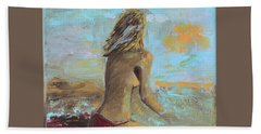 Topless Beach Hand Towel by Donna Blackhall