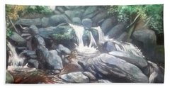 Bath Towel featuring the painting Torc Waterfall County Kerry Ireland by Paul Weerasekera