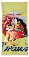 Torino Turin Italy Vintage Travel Poster Restored Bath Towel