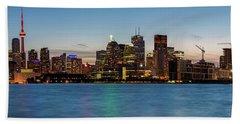 Bath Towel featuring the photograph Toronto Skyline At Dusk Panoramic by Adam Romanowicz