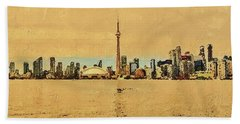 Hand Towel featuring the digital art Toronto Skyline Panorama by PixBreak Art