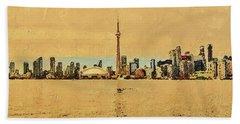 Bath Towel featuring the digital art Toronto Skyline Panorama by PixBreak Art