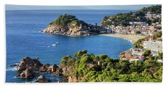 Tossa De Mar Sea Town On Costa Brava In Spain Hand Towel