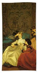 Toulmouche Auguste The Reluctant Bride Hand Towel by Auguste Toulmouche