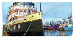 Tour Boat At Dock Bath Towel by Tobeimean Peter