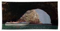 Tourist Boat At The Islas Ballestas Bath Towel by Patricia Hofmeester