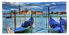 Gondolas And San Giorgio Di Maggiore In Venice, Italy Bath Towel