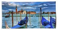 Gondolas And San Giorgio Di Maggiore In Venice, Italy Hand Towel
