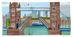 Bath Towel featuring the painting Tower Bridge London by Magdalena Frohnsdorff