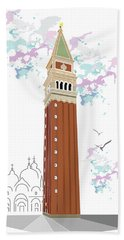 Tower Of Campanile In Venice Hand Towel