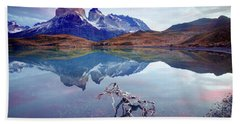 Bath Towel featuring the photograph Towers Of The Andes by Phyllis Peterson