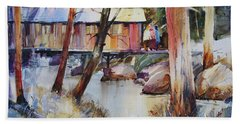 Covered Bridge Over Town Brook Hand Towel