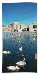 Town Hall And Swans In Reykjavik Iceland Bath Towel by Matthias Hauser