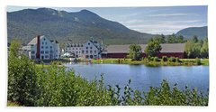 Town Square By The Pond At Waterville Valley Hand Towel