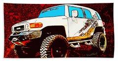 Toyota Fj Cruiser 4x4 Cartoon Panel From Vivachas Hand Towel