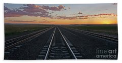 Tracks Into Sunset Bath Towel