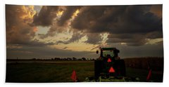 Tractor At Sunrise - Chester Nebraska Bath Towel