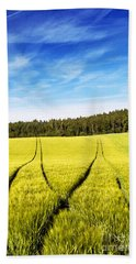 Tractor Tracks In Wheat Field Hand Towel