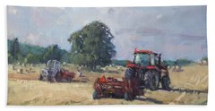 Tractors In The Farm Georgetown Hand Towel by Ylli Haruni